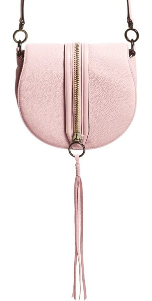 REBECCA MINKOFF Mara saddle crossbody bag in pale blush/ gunmetal hrdwr - Curvaceous detailing and a gleaming goldtone center...