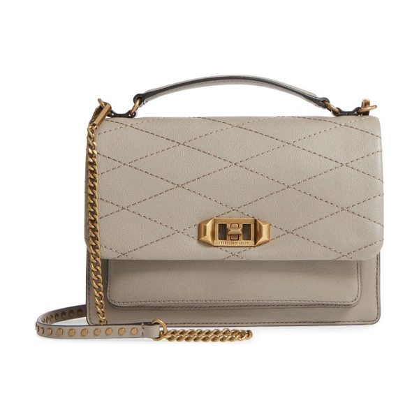 Rebecca Minkoff medium je t'aime convertible leather crossbody bag in taupe - Diamond topstitching adds modern dimension to the flap...
