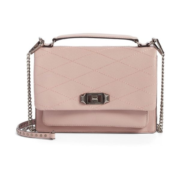 Rebecca Minkoff medium je t'aime convertible leather crossbody bag in vintage pink - Diamond topstitching adds modern dimension to the flap...