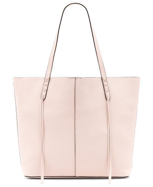 Rebecca Minkoff Medium Unlined Tote With Whipstitch in soft blush - Leather exterior with raw leather lining. Top magnetic...