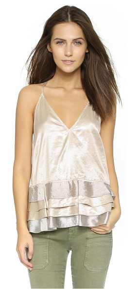 Rebecca Minkoff Metallic top in metallic - A tiered hem brings playful swing to this Rebecca...