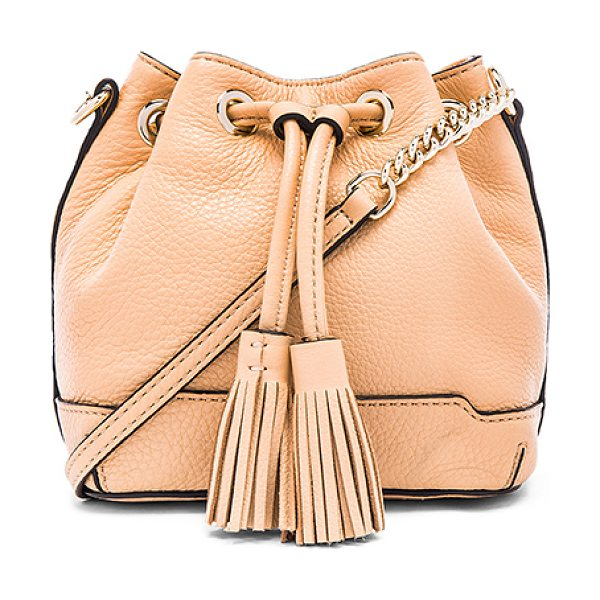 Rebecca Minkoff Micro lexi bucket bag in tan - Leather exterior with jacquard fabric lining. Fringed...