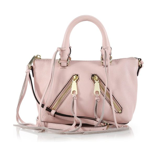 Rebecca Minkoff Micro moto metallic leather satchel in pink - Mini metallic leather design with tassel detailDouble...