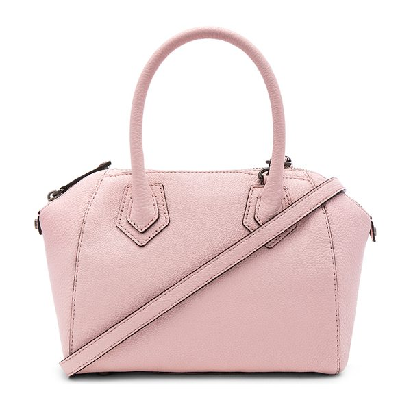 Rebecca Minkoff Micro perry satchel bag in blush - Leather exterior with jacquard fabric lining. Zip top...