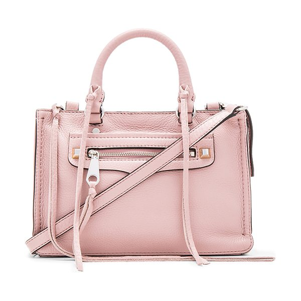 Rebecca Minkoff Micro regan satchel bag in mauve - Leather exterior with jacquard fabric lining. Zip top...