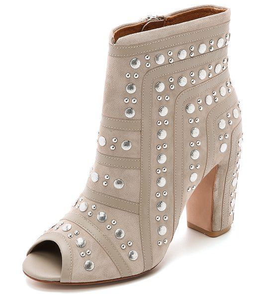 Rebecca Minkoff Mila studded booties in taupe - Leather strips join the studded nubuck sections of these...