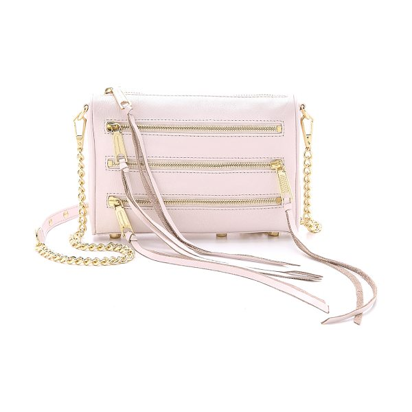 Rebecca Minkoff Mini 5 zip cross body bag in seashell - A trio of polished zips finishes a smooth leather...