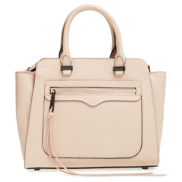 Rebecca Minkoff Mini avery tote in putty/ black - A suave tote shaped from impeccably textured Saffiano...