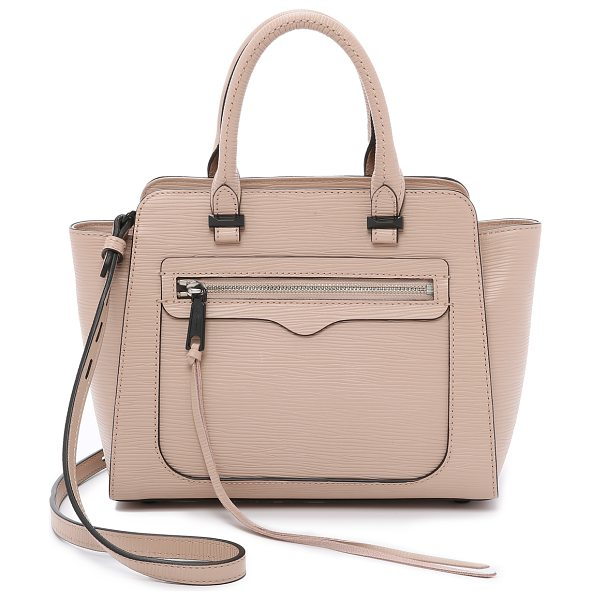 Rebecca Minkoff Mini avery tote in latte - Textured leather brings a sophisticated finish to this...