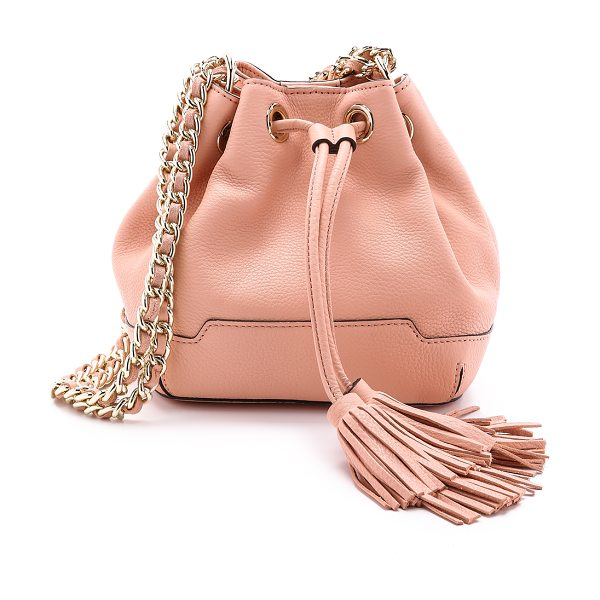 REBECCA MINKOFF Mini lexi bucket bag in apricot - Pebbled leather composes this scaled down Rebecca...