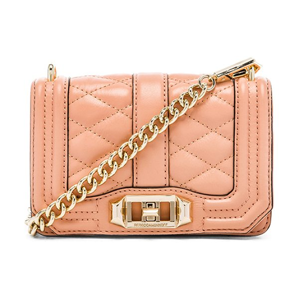 Rebecca Minkoff Mini love crossbody in peach - Quilted leather exterior with printed fabric lining....