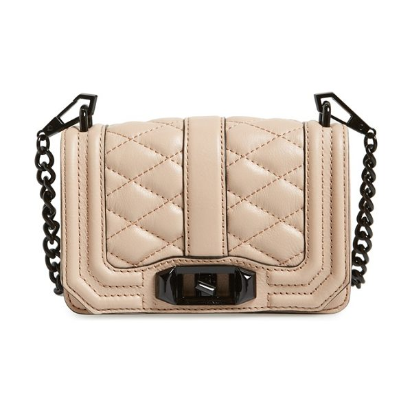 Rebecca Minkoff Mini love convertible crossbody bag in sandstone - Sleek quilted leather lends elegant dimension to a...