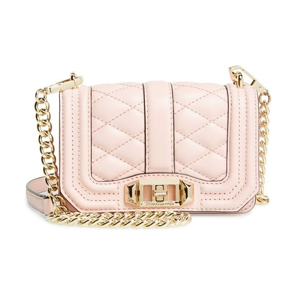 Rebecca Minkoff Mini love crossbody bag in aloe/ light gold - Sleek quilted leather lends elegant dimension to a...