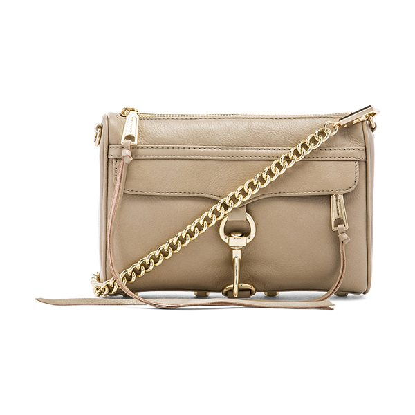 REBECCA MINKOFF Mini mac in taupe - Leather exterior with printed fabric lining. Measures...