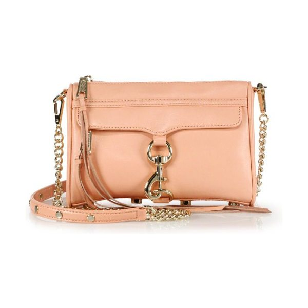REBECCA MINKOFF Mini mac convertible crossbody bag in apricot - Versatility defines this easy shape of butter-soft...