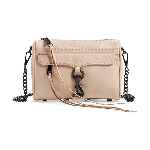 Rebecca Minkoff Mini mac convertible crossbody bag in latte - An oversized clip-lock gleams at the front flap of a...