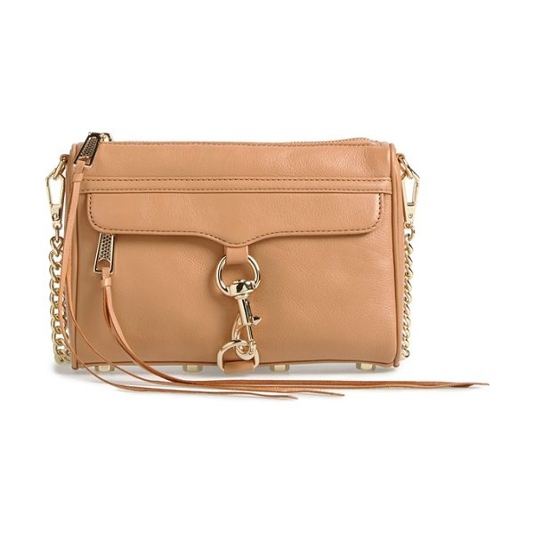 Rebecca Minkoff Mini mac convertible crossbody bag in sandstone - An oversized clip-lock gleams at the front flap of a...