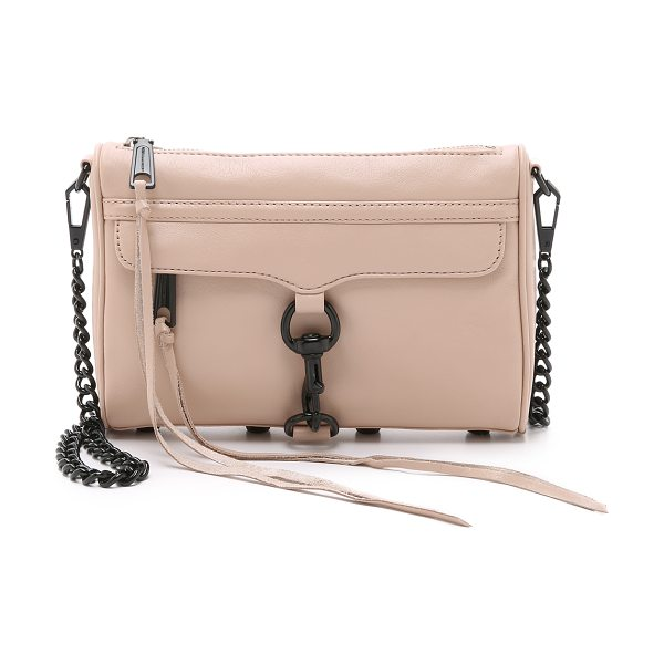 Rebecca Minkoff Mini mac cross body bag in latte - A timeless Rebecca Minkoff bag in soft leather. Studded...