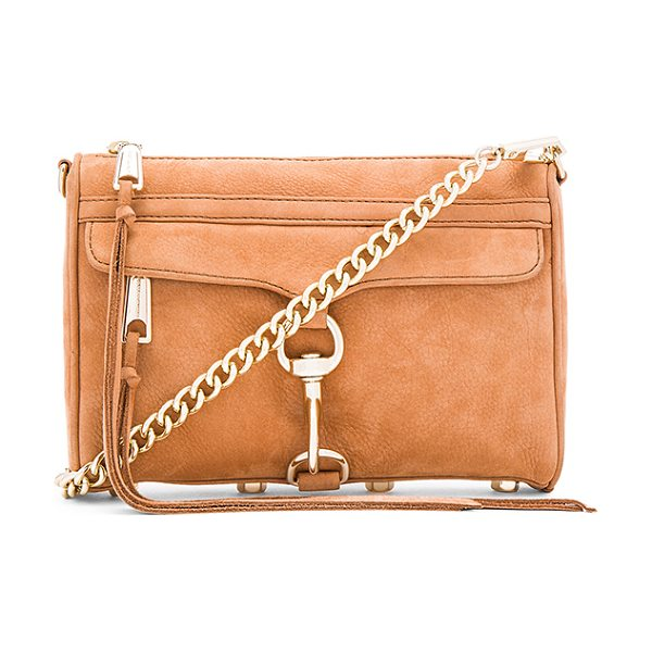 Rebecca Minkoff Mini Mac Crossbody Bag in almond - Suede exterior with jacquard fabric lining. Zip top...