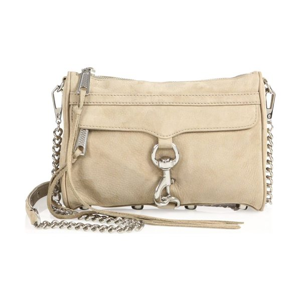 Rebecca Minkoff mini mac nubuck leather crossbody bag in sandstone - Coveted crossbody-to-clutch design in nubuck leather....