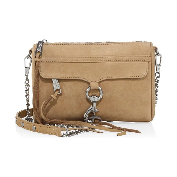 Rebecca Minkoff mini mac nubuck crossbody bag in sand - Soft crossbody bag with front lobster clasp trim....