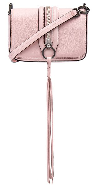 Rebecca Minkoff Mini mara crossbody bag in blush - Leather exterior with jacquard fabric lining. Flap top...