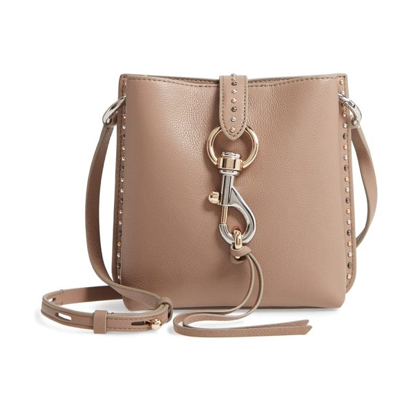 Rebecca Minkoff mini megan studded leather feed bag in beige