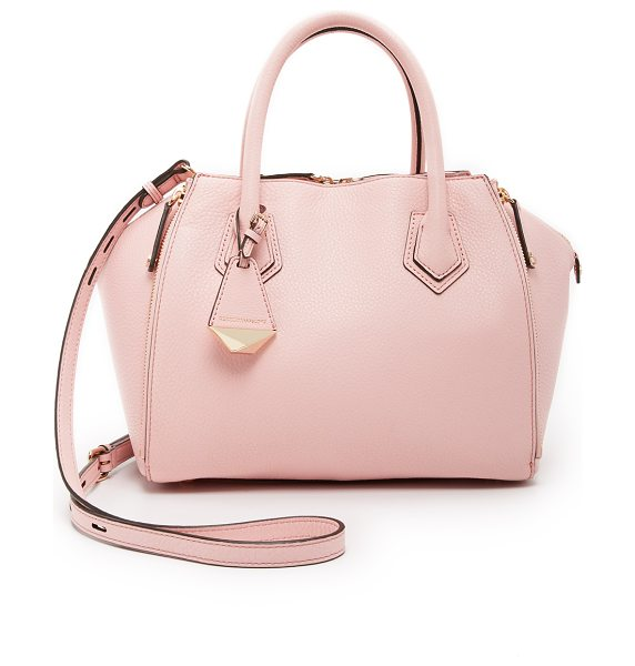 Rebecca Minkoff Mini perry satchel in baby pink - Zips adjust the profile of this pebbled leather Rebecca...