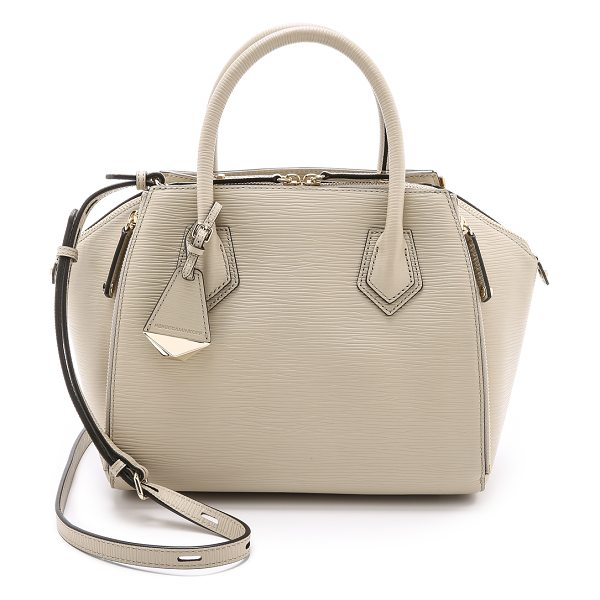 Rebecca Minkoff Mini perry satchel in khaki - Zips adjust the volume of this textured leather Rebecca...