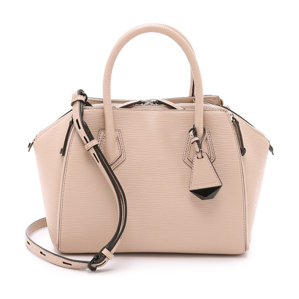 Rebecca Minkoff Mini perry satchel in latte - Zips adjust the volume of this textured leather Rebecca...