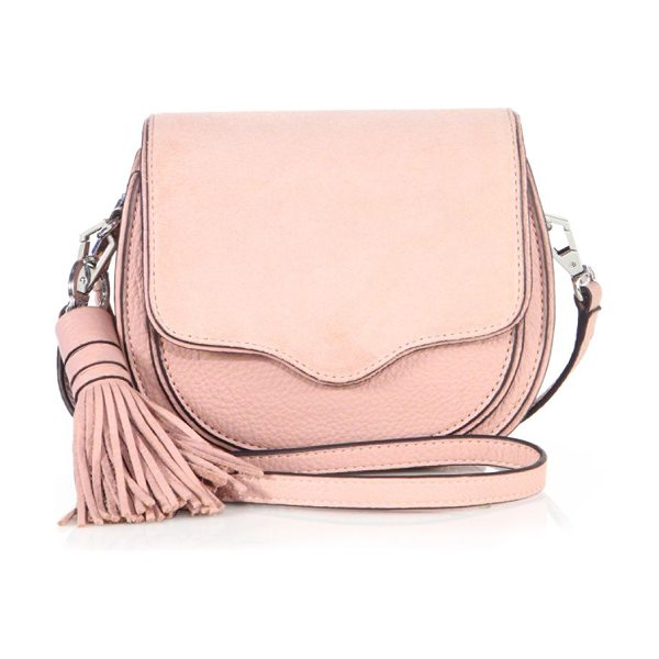 REBECCA MINKOFF mini suki leather saddle crossbody bag in vintage pink - Pebbled leather saddle style with soft suede flap....