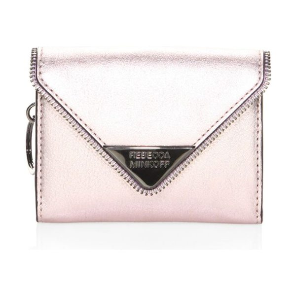 REBECCA MINKOFF molly metro leather clutch - Features a metallic finish throughout. Magnetic snap...