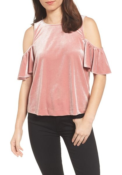 Rebecca Minkoff monsoon cold shoulder velvet top in pale pink - Ruffled sleeves drape from the bodice as this flowing...