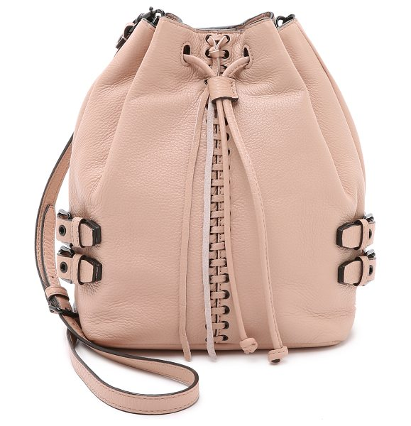 Rebecca Minkoff Moto bucket bag in latte - Decorative stitching accents the center of this pebbled...