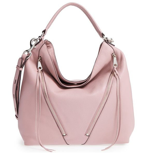 REBECCA MINKOFF Moto hobo bag in vintage pink/ silver hrdwr - A pair of asymmetrical zip pockets provides a bit of...