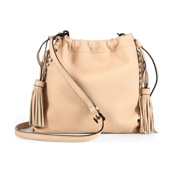 Rebecca Minkoff Moto leather drawstring crossbody bag in latte - Whipstitched edges, glossy grommets and a chic tassel...