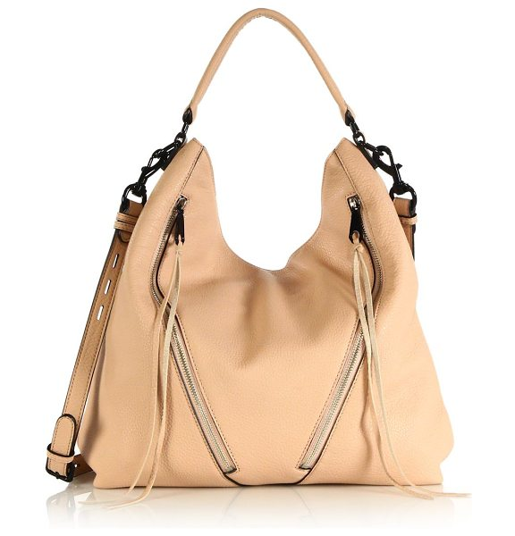 Rebecca Minkoff Moto leather hobo bag in sandstone - Diagonal tassel-trimmed zippers and glossy black...