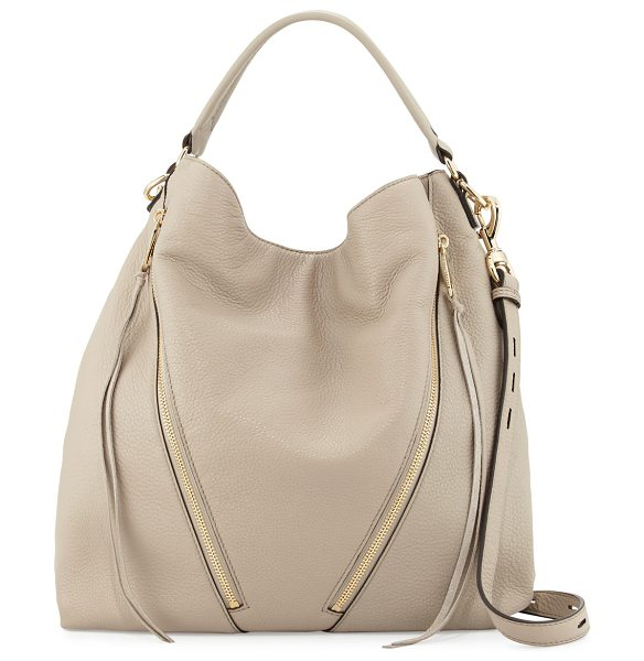 REBECCA MINKOFF Moto Leather Hobo Bag in khaki - Rebecca Minkoff grained leather moto hobo bag. Golden...
