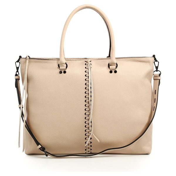 Rebecca Minkoff Moto leather zip tote in latte - Crafted of rich pebbled leather, this work-to-weekend...