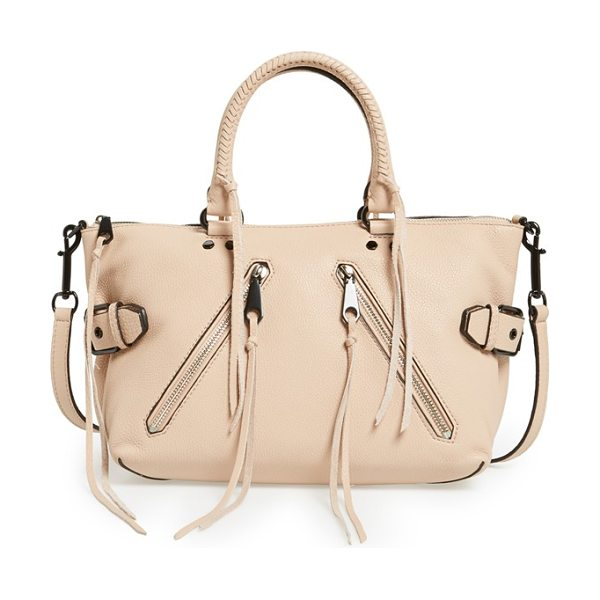 Rebecca Minkoff Moto satchel in putty/ black - Signature stud hardware, a pair of asymmetrical zip...