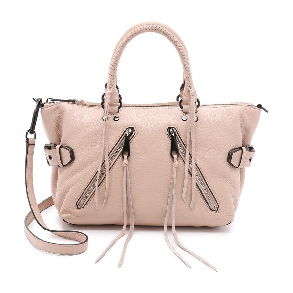 REBECCA MINKOFF Moto satchel in latte - A Rebecca Minkoff satchel styled in pebbled leather. 2...