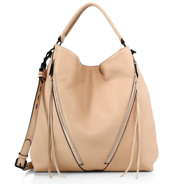 REBECCA MINKOFF Moto small leather hobo bag in latte - Slouchy-chic design with edgy black hardwareTop handle,...