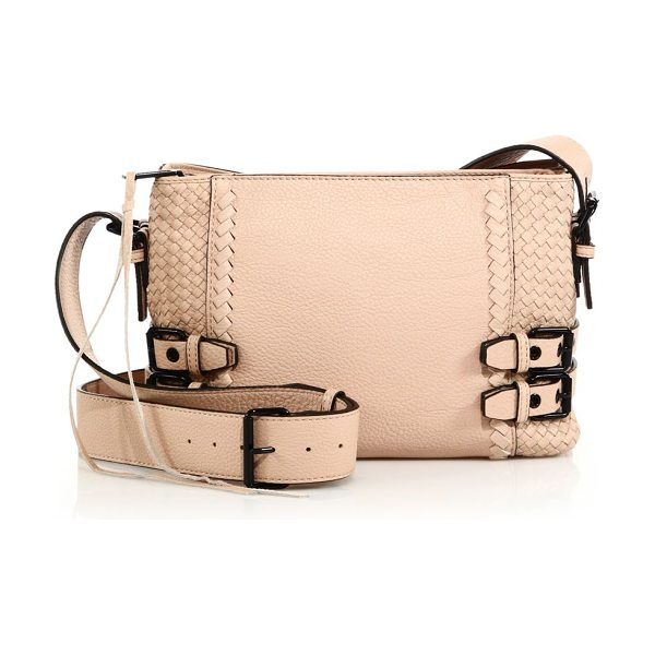 REBECCA MINKOFF Moto woven leather crossbody bag in latte - Woven leather design with moto-inspired...