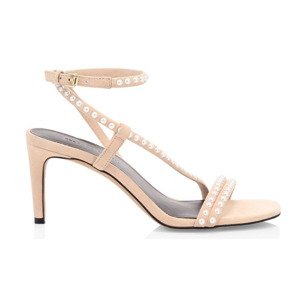 Rebecca Minkoff nanine faux pearl-embellished leather sandals in rosewood