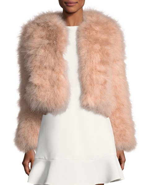 Rebecca Minkoff Pacha Long-Sleeve Short Feathered Jacket in pink - Rebecca Minkoff jacket in turkey feathers. Collarless....