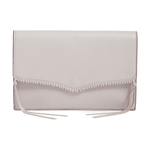 Rebecca Minkoff panama leather envelope clutch in putty/ gunmetal - A hint of Western influence updates a slim envelope...