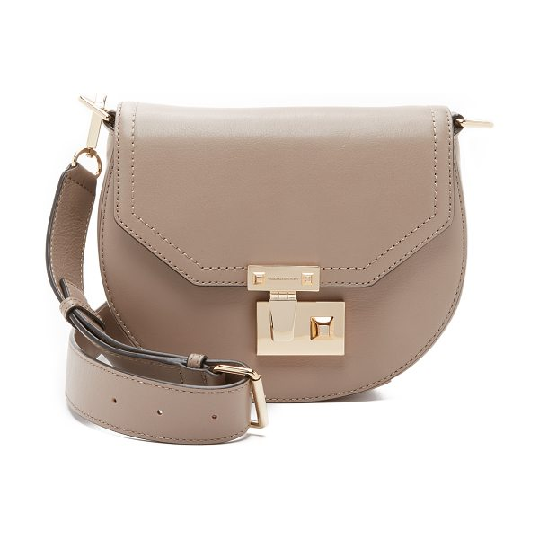 Rebecca Minkoff Paris saddle bag in taupe - A polished push lock punctuates the front of this small...