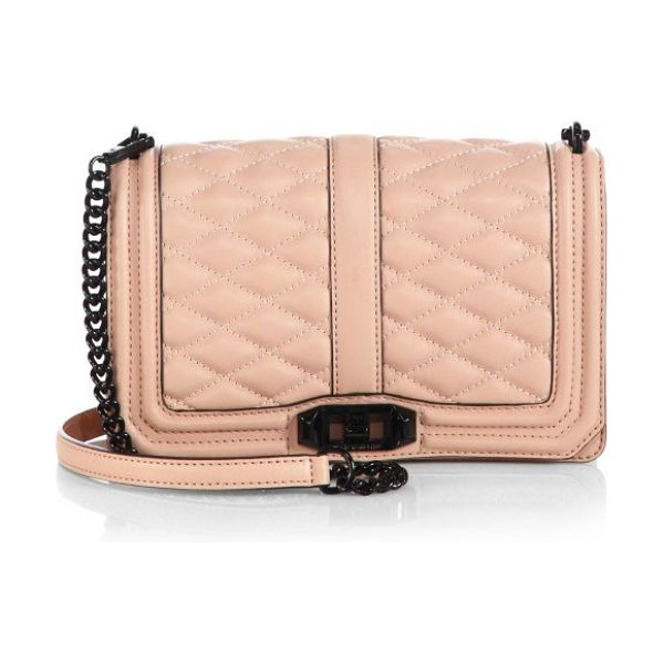 Rebecca Minkoff Quilted love crossbody bag in latte - Gorgeous quilted leather flap-front design with high...