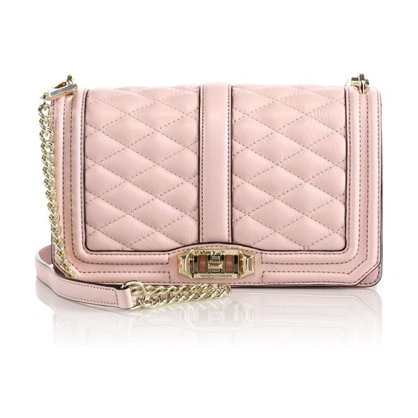 Rebecca Minkoff Quilted love leather crossbody bag in babypink - A timeless brand favorite with quilted leather and...