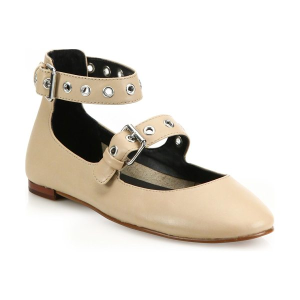 Rebecca Minkoff rachel leather mary jane flats in nude - Shiny grommets uplift the timeless leather Mary janes....